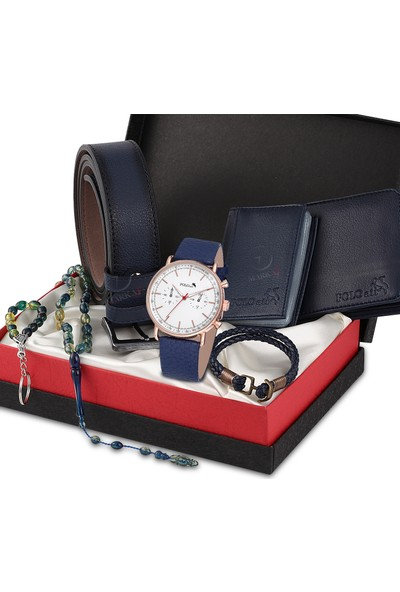 Polo Air Erkek Kol Saati ve Cüzdan Kemer Anahtarlık Bileklik Kombini PL-0264E2