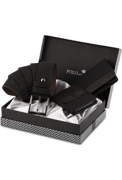 Polo Air Erkek Kol Saati ve Cüzdan Kemer Anahtarlık Bileklik Kombini PL-0373E1