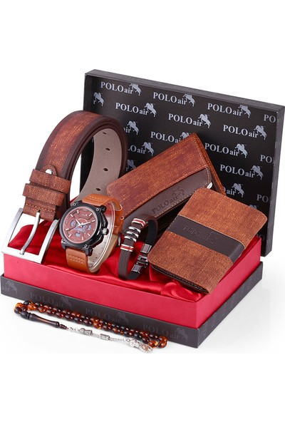 Polo Air Erkek Kol Saati ve Cüzdan Kemer Anahtarlık Bileklik Kombini PL-0100E3