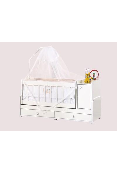 Diverso Home Büyüyen Anne Yanı Şifonyerli Ahşap Bebek Beşiği + Yatak 60 x 120 cm