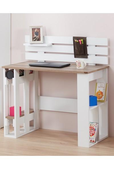 Adetto Kuvars Çalışma Masası Patara - Beyaz Ceviz Seçenekli