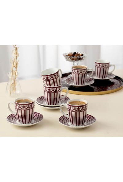 English Home Galio Porselen 12 Parça Kahve Fıncan Takımı 100 ml Mor