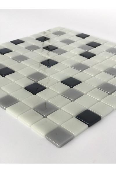 Orient Mutfak,banyo,havuz ve Zemin Için Beyaz Siyah Gri 25X25 Cam Mozaik
