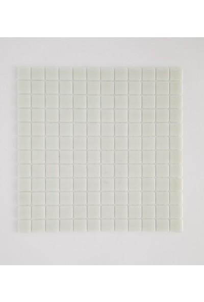 Orient Mutfak,banyo,havuz ve Zemin Için Sade Beyaz 25X25 Cam Mozaik