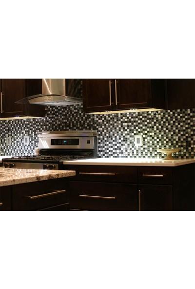 Orient Mutfak,banyo,zemin Için Beyaz Siyah Domino Simli 25X50 Cam Mozaik