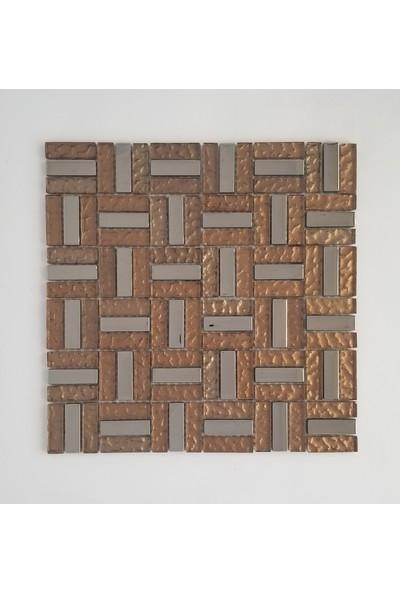 Orient Mutfak,banyo,zemin Için Kahve Krom Desenli 15X48 Kristal Mozaik