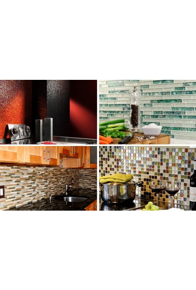 Orient Mutfak,banyo,zemin Için Krom Çizgi Desenli 23X73 Kristal Mozaik