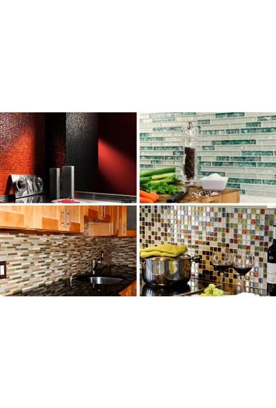Orient Mutfak,banyo,zemin Için Siyah Krom Simli 23X98 Kristal Mozaik