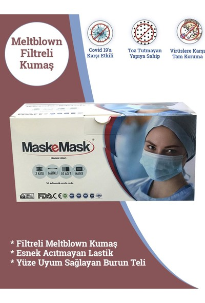 Maskemask Meltblown Full Ultrasonk Maske 3katlı Siyah Kumaş 100AD