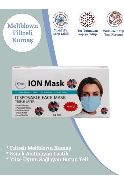 İon Mask Meltblown Full Ultrasonk Maske 3katlı Siyah Kumaş 100AD
