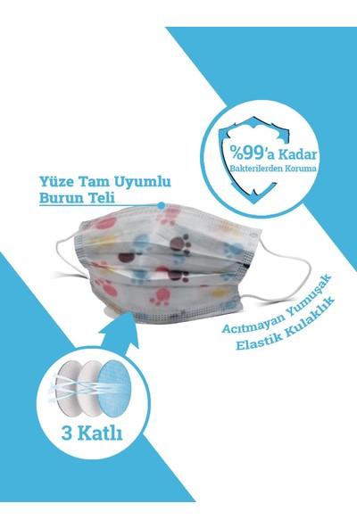 Ion Mask Desenli ve Renkli Çocuk Telli Tek Kullanımlık Medikal Cerrahi Maske 100 Adet