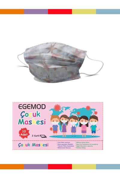 Egemod Meltblown Desenli Çocuk Full Ultrasonk Maske 3 Katlı 100 Adet