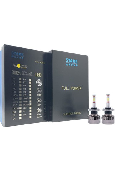 Stark Full Power Csp 360° H7 LED Xenon 12000LM 6000K Beyaz Far Ampulü Mercekli Far