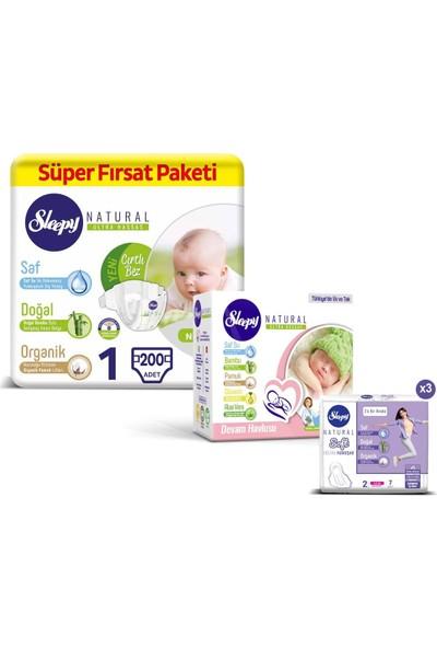 Sleepy Natural Bebek Bezi 1 Numara Yenidoğan Süper Fırsat Paketi 200'lü + Devam Havlusu 3 x 40'lı + Ped Soft Kadın Pedi 21'li