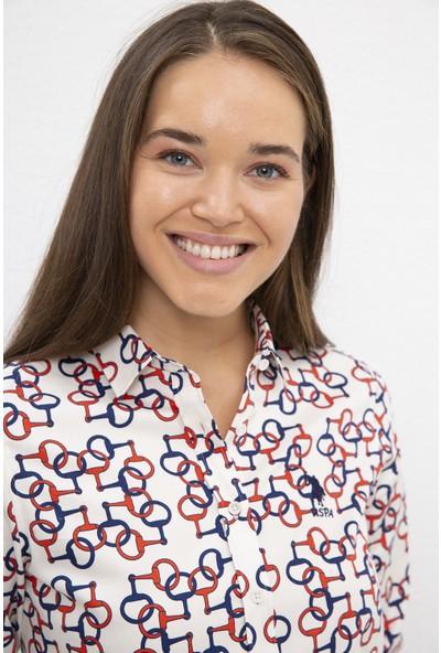 U.S. Polo Assn. Kadın Beyaz Gömlek Uzunkol 50225762-VR019