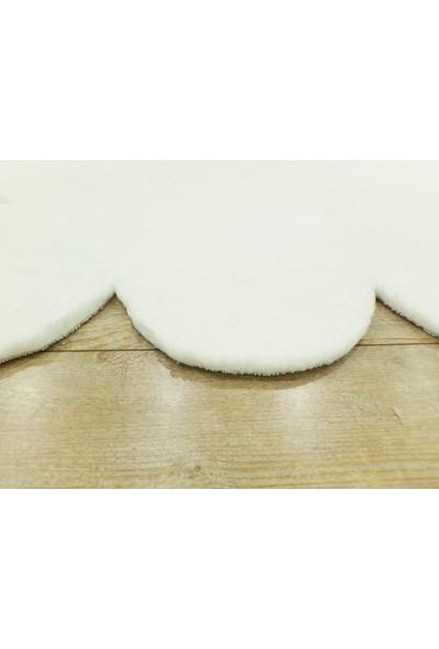 Balat Halı Lazer Kesim Dekor Peluş Uzun Tüylü Yolluk Halı Beyaz