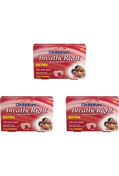 Breathe Right Ekstra Burun Bandı Normal Boy 10 Adet 3'lü Paket