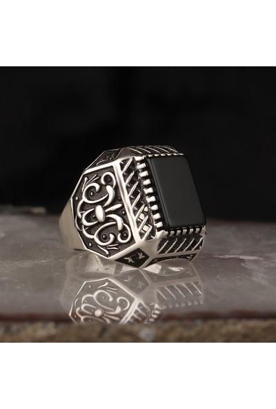Tesbihevim Kalem Işçilikli Oniks Taşlı 925 Ayar Gümüş Erkek Yüzük