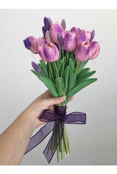 Ddevents Gelin Çiçeği Buketi - Islak Lale Açık Pembe