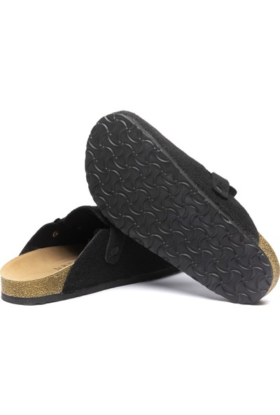 John May Kadın Ba-S902.042 Keçe Terlik Siyah-Siyah