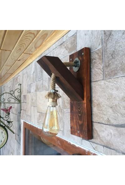 Hüma Dekoratif Ahşap Halatlı Rustik Duvar Aplik