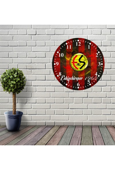 Reklamcım Eskişehirspor Dekoratif Mdf Duvar Saati
