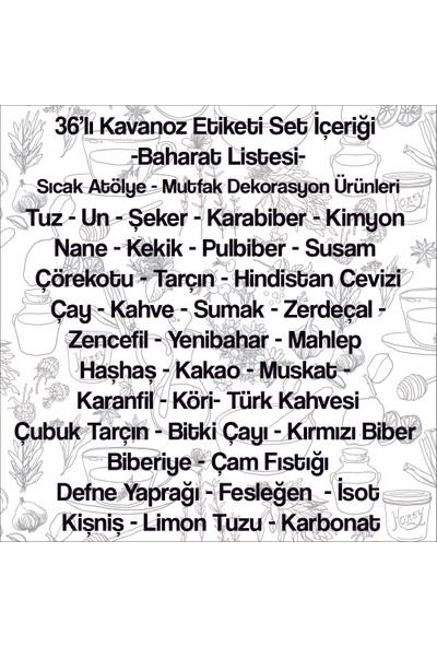 Sıcak Atölye Kavanoz Etiketi 36'li Baharat Seti