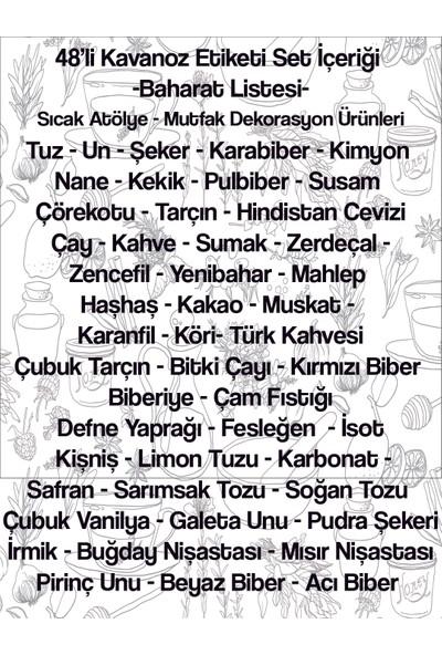 Sıcak Atölye Kavanoz Etiketi 48'li Baharat Seti