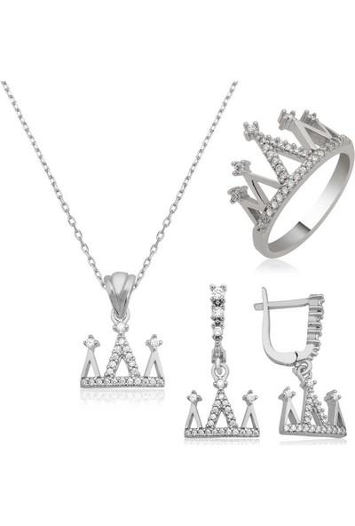 Beyazıt Takı Gümüş Kraliçe Tacı Kadın Set