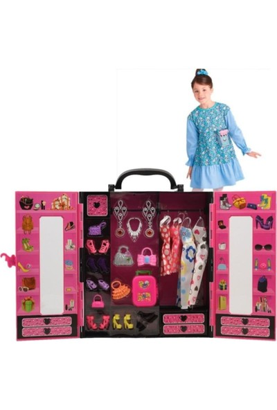 Kayyum Oyuncak Barbie Beauty Fashion Star Elbise ve Aksesuar Gardrobu 30+ Parça