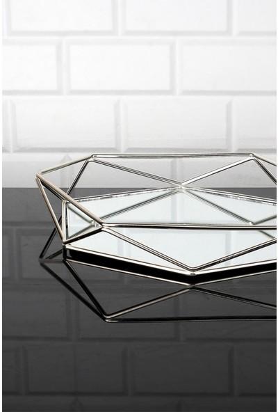 Kitchen Crazy Zeyve Prizma Gümüş Orta Tepsi 34x30 cm