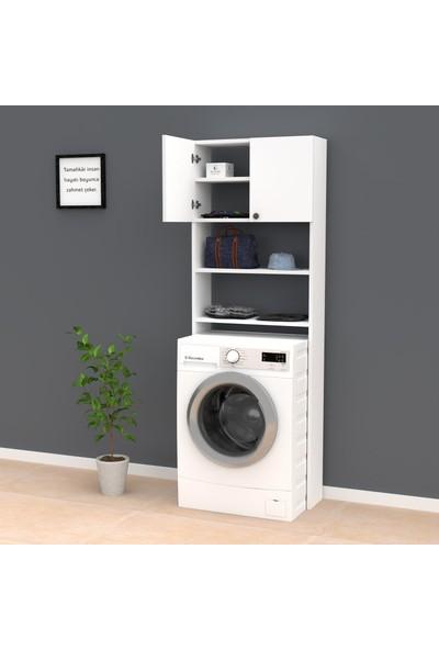 Kenzlife Çamaşır Makinesi Dolabı Gerasim Beyaz 180*060*20 Banyo Ofis