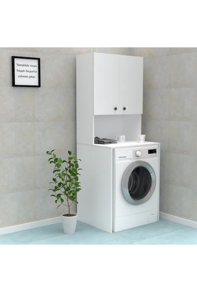 Kenzlife Çamaşır Makinesi Dolabı Raisa Beyaz 180 cm x 66 cm x 60 cm Banyo Ofis