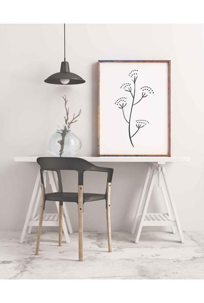 Dekoliya Yaprak Desenli Çizgisel Çiçek Tablo