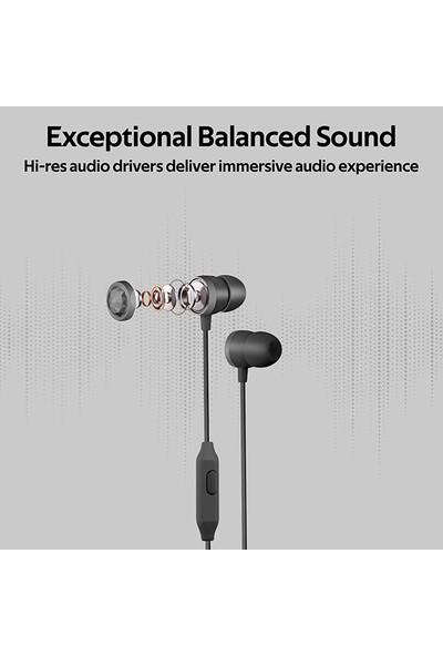 Promate Ingot Kulaklık Kulak İçi HD Stereo Kablolu Dahili Mikrofonlu Ses Kontrollü