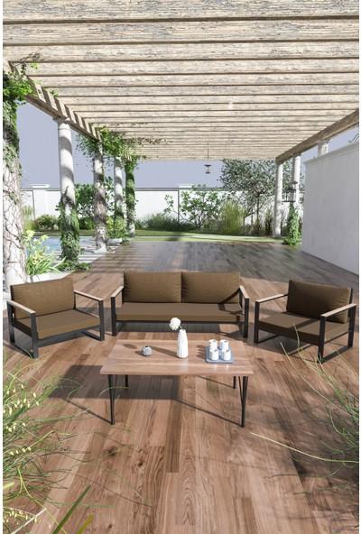 Evdemo Kobalt Bahçe Balkon Mobilyası Sehpalı 2+1+1 Kahve