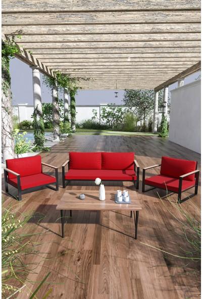 Evdemo Kobalt Bahçe Balkon Mobilyası Sehpalı 2+1+1 Kırmızı