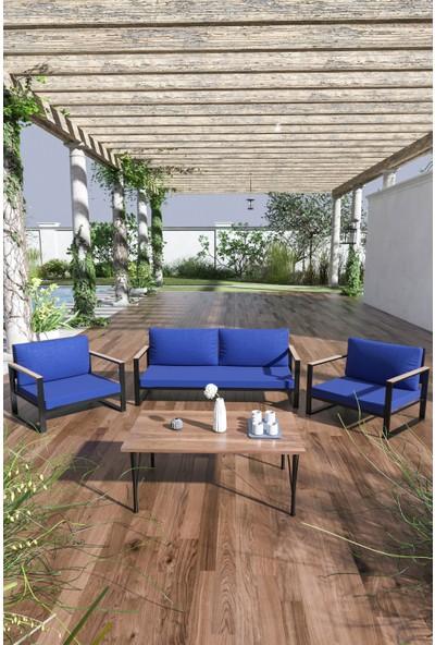 Evdemo Kobalt Bahçe Balkon Mobilyası Sehpalı 2+1+1 Mavi