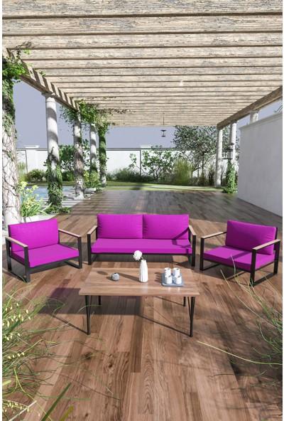 Evdemo Kobalt Bahçe Balkon Mobilyası Sehpalı 2+1+1 Mor