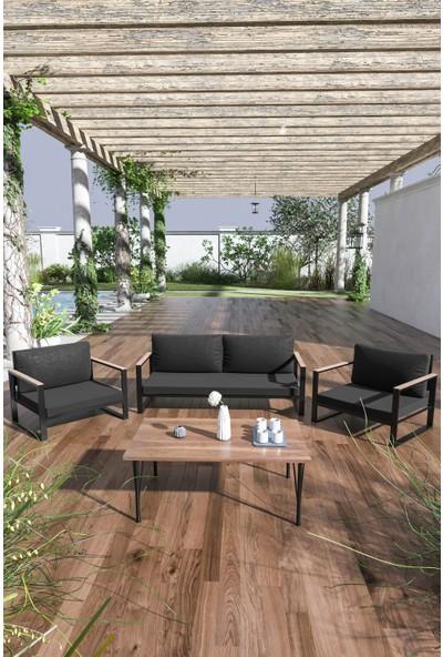 Evdemo Kobalt Bahçe Balkon Mobilyası Sehpalı 2+1+1 Siyah