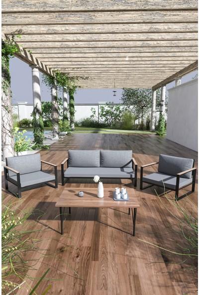 Evdemo Kobalt Bahçe Balkon Mobilyası Sehpalı 2+1+1 Gri