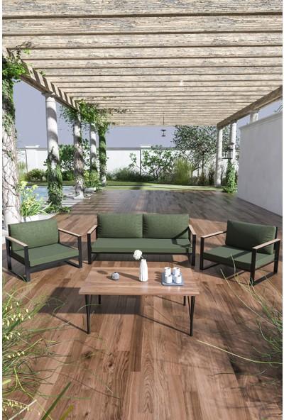 Evdemo Kobalt Bahçe Balkon Mobilyası Sehpalı 2+1+1 Haki