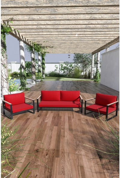 Evdemo Kobalt Bahçe Balkon Mobilyası 2+1+1 Kırmızı