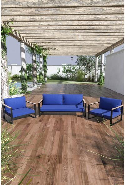 Evdemo Kobalt Bahçe Balkon Mobilyası 2+1+1 Mavi