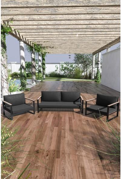 Evdemo Kobalt Bahçe Balkon Mobilyası 2+1+1 Siyah