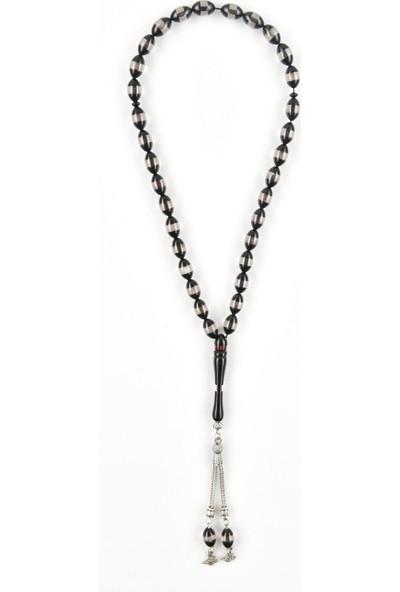 In Dubai Silver Siyah Beyaz Kazaziye Sürmeli Tesbih DBSE6001