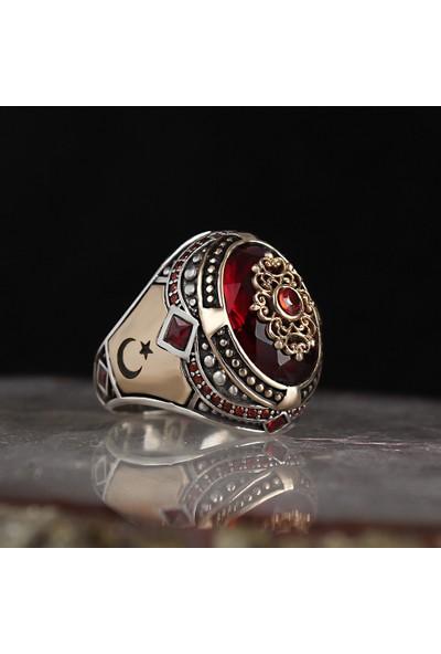 Tesbihevim Zirkon Taşlı Ayyıldızlı 925 Ayar Gümüş Yüzük