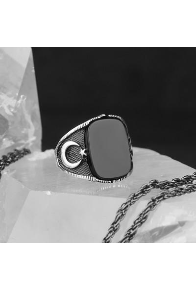 Tesbihevim Oniks Taşlı Ayyıldızlı 925 Ayar Gümüş Yüzük