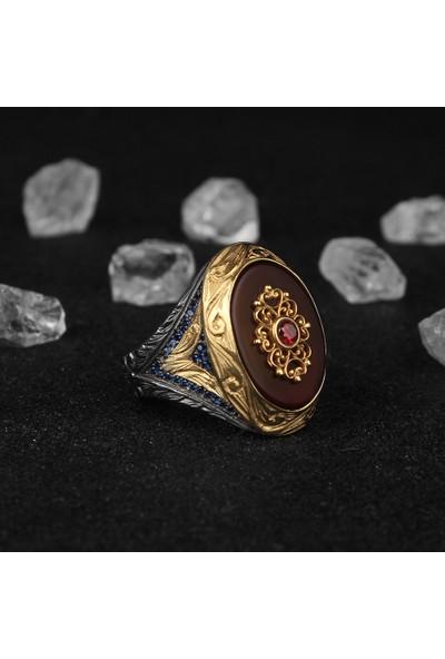Tesbihevim Akik Taşlı Rodaj Kaplamalı 925 Ayar Gümüş Yüzük