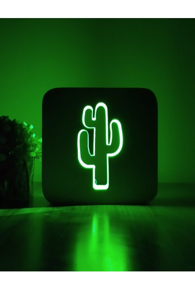 Tablo Art House Ahşap Lamba Masa Lambası Gece Lambası Kaktüs Yeşil